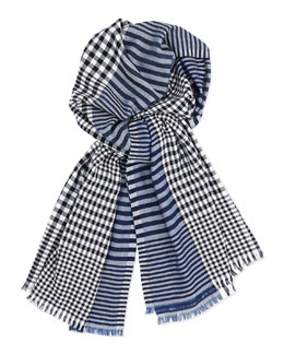 Men's Stripe/Check Wool-Blend Scarf, Navy