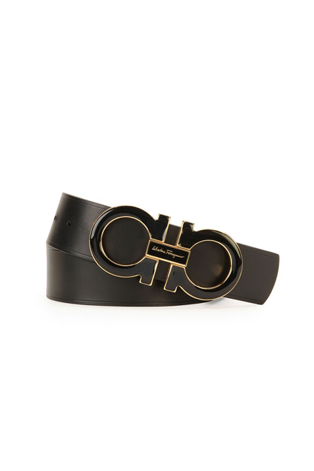 Men's Double-Gancini-Buckle Belt, Black