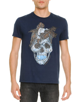 Feather-Skull-Print Tee, Blue