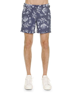 Bandana-Print Swim Trunks, Blue