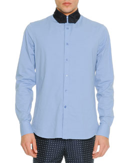 Poplin Shirt with Necktie-Collar, Blue