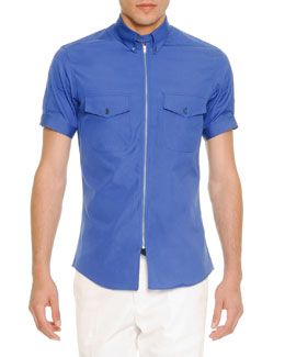 Zip-Placket Short-Sleeve Poplin Shirt