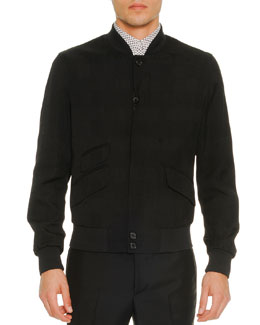 Textured Nylon Bomber Jacket, Black