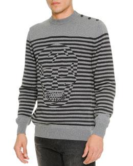 Tonal-Skull & Striped Sweater, Gray
