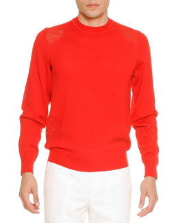 Transparent-Patch Crewneck Sweater, Red