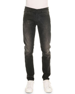 Stone-Wash Stretch Denim Jeans, Black
