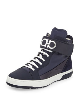 Night Napa/Patent High-Top Sneaker with Ankle Strap, Navy
