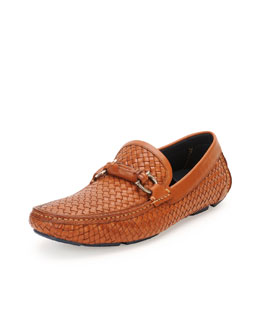 Round Woven Leather Driver, Brown