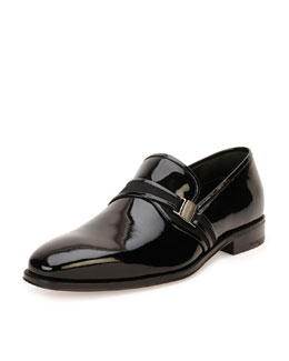 Nygel Patent Leather Loafer with Side Vara, Black