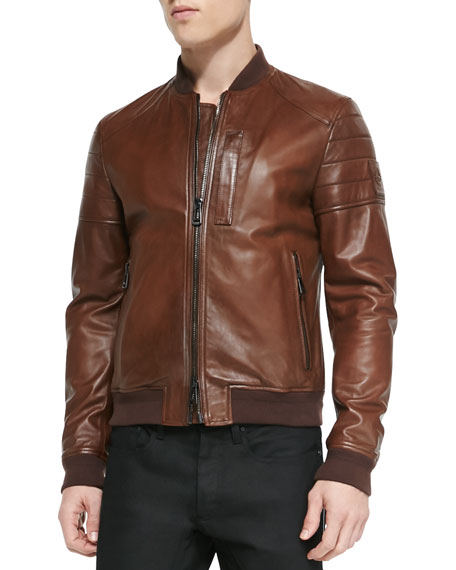 Tumbled Lightweight Leather Jacket, Brown