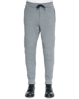 Ashdown Tapered Moto Sweatpants, Mid Gray