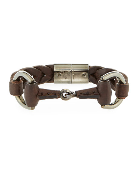 Gucci Men's Leather Horsebit Bracelet, Brown