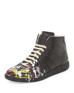 Splatter-Detail Mid-Top Replica Sneaker, Black