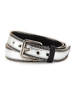 Men's Zip-Trim Metallic Leather Belt