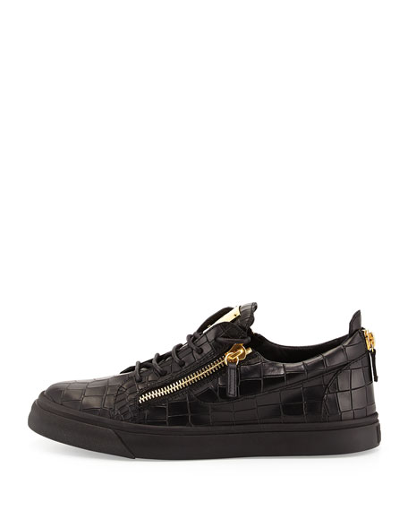 Men's Croc-Embossed Low-Top Sneakers, Black