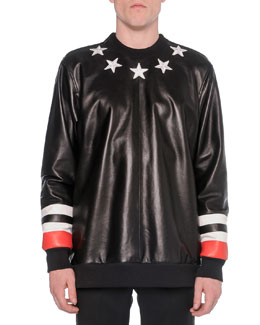 Leather-Front Star Sweatshirt, Black
