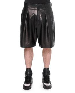 Pleated Leather Shorts, Black