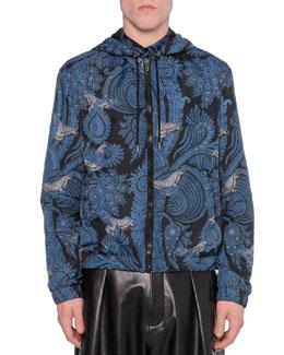 Paisley-Print Hooded Jacket, Blue