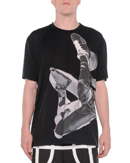 Basketball-Player Printed Tee, Black