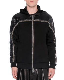 Nylon/Neoprene Zip-Up Sweatshirt, Black