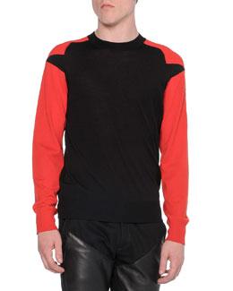 Contrast-Sleeve Crewneck Sweater, Black