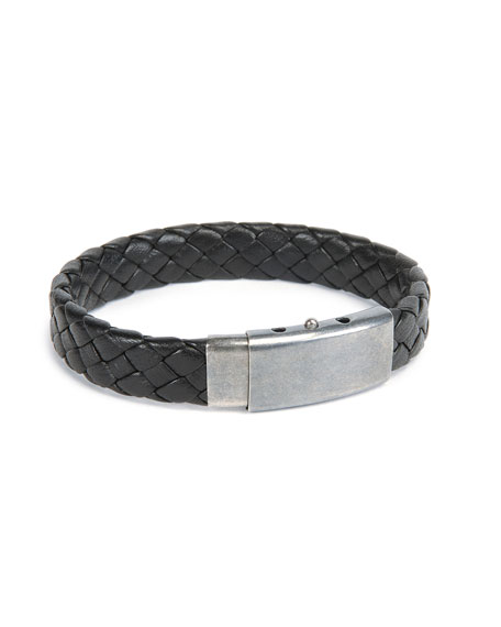 519b5cf29c09f Men's Woven Leather Bracelet Black