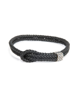 Men's Woven Leather Knot Bracelet, Black