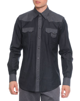 Pinstripe-Panel Western Shirt
