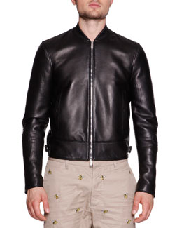 Leather Moto Varsity Jacket, Black