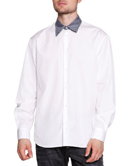 Polka-Dot-Collar Poplin Shirt