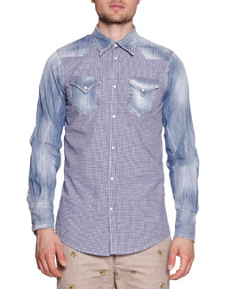Denim & Gingham Western Shirt, Blue
