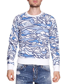 Pool-Print Crewneck Sweatshirt, Blue