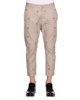 Banana Embroidered Pants, Tan