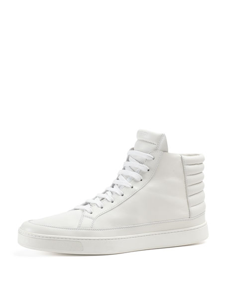 Gucci Leather High,Top Sneaker, White