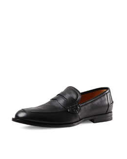 Leather Penny Loafer, Black