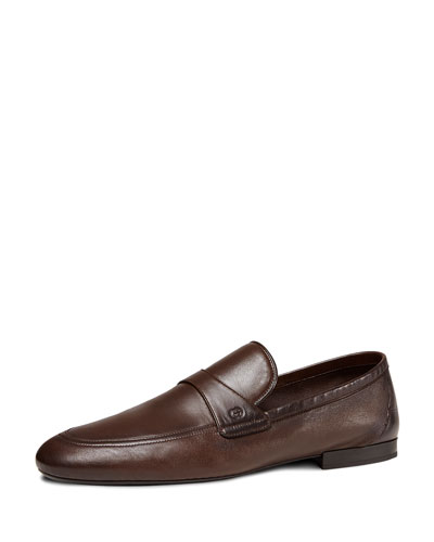 Unlined Leather Loafer, Dark Brown