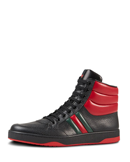 842116401 Gucci Contrast Padded Leather High-Top Sneaker