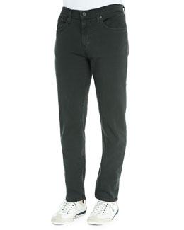 Kane Straight-Leg Twill Jeans, Green