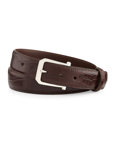 "Matte Alligator Belt with ""The Paisley"" Buckle, Chocolate (Made to Order)"