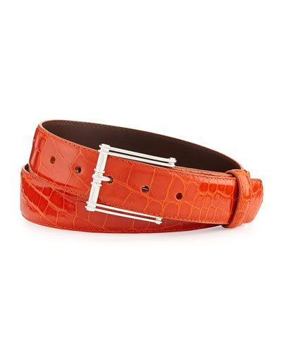 """Glazed Alligator Belt with """"The Chair"""" Buckle, Orange (Made to Order)"""