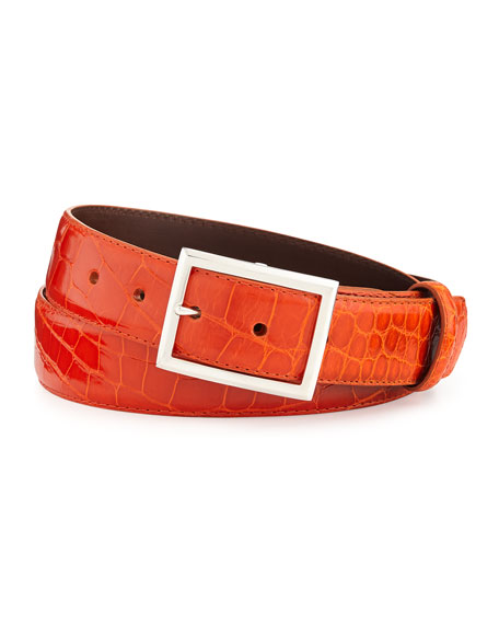 "Glazed Alligator Belt with ""Simple Rec"" Buckle, Orange (Made to Order)"