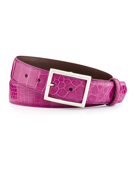 "Glazed Alligator Belt with ""Simple Rec"" Buckle, Magenta (Made to Order)"