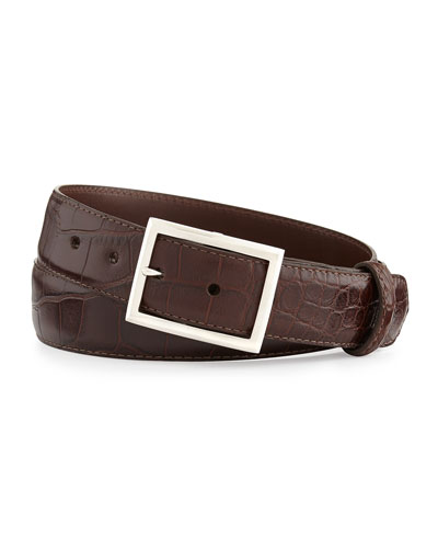 "Matte Alligator Belt with ""Simple Rec"" Buckle, Chocolate (Made to Order)"