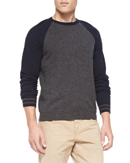 Jace Striped-Cuff Baseball Sweater, Charcoal