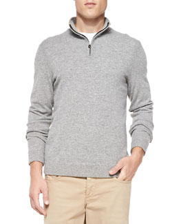Zeeland Elbow-Patch Sweater, Gray