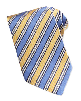Woven Grosgrain Striped Tie, Yellow