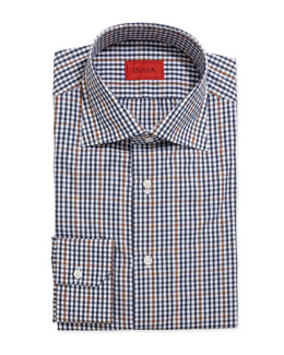 Graph-Check Dress Shirt, Navy/Orange