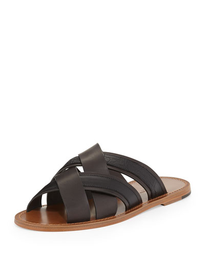 Woven Leather & Crocodile Sandal, Black/Brown