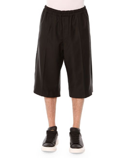 Drawstring Long-Shorts, Black