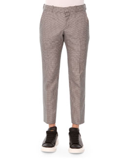 Houndstooth Cotton-Silk Trousers, Black/White
